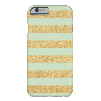 Elegant Mint with Gold Glitter Stripes Barely There iPhone 6 Case