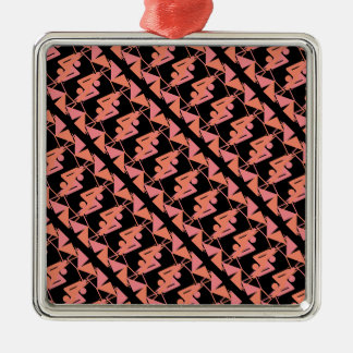 Elegant Mirrored Geometric & Abstract Pattern Christmas Ornament