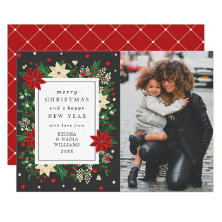 Elegant Mistletoe & Poinsettia Christmas Photo Card