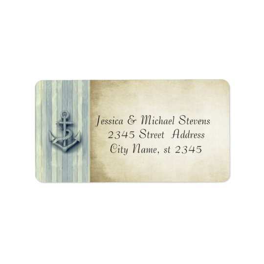 Elegant modern anchor nautical vintage address label