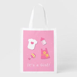 Elegant Modern Baby Girl Pink Grocery Bag