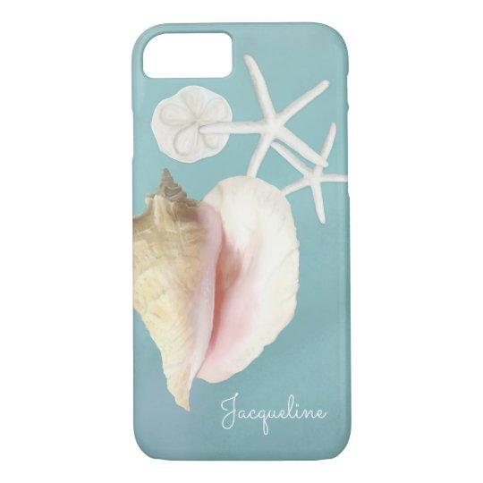 Elegant Modern Beach Conch Shell Starfish Art iPhone