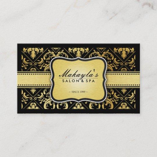Elegant modern black and metallic gold damask business card zazzle elegant modern black and metallic gold damask business card reheart Gallery