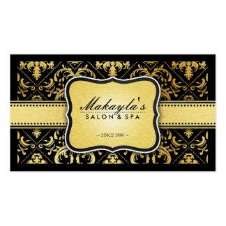 Elegant Modern Black and Metallic Gold Damask Pack Of Standard Business Cards