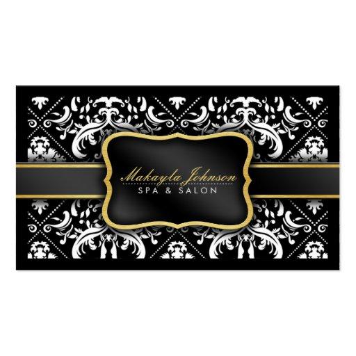 Elegant Modern Black and White Damask Spa & Salon Business Card Template