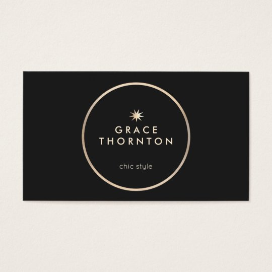 Elegant Modern Black Gold Circle Star Business Card