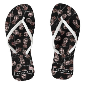 elegant modern black marble rose gold pineapple flip flops