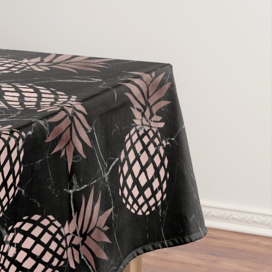 elegant modern black marble rose gold pineapple tablecloth