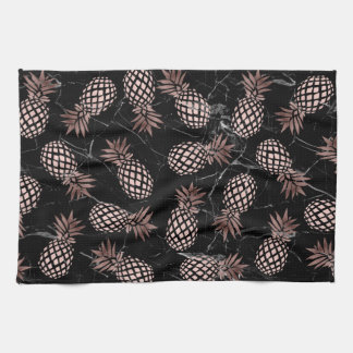 elegant modern black marble rose gold pineapple tea towel