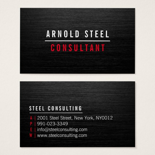Elegant modern black metal professional plain business card
