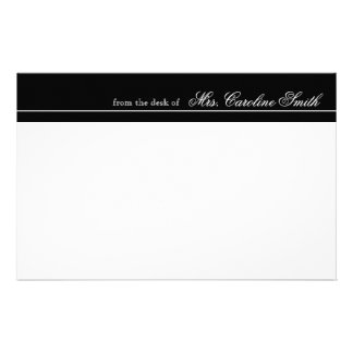 Elegant & Modern Black Stripe Personalized Stationery Paper