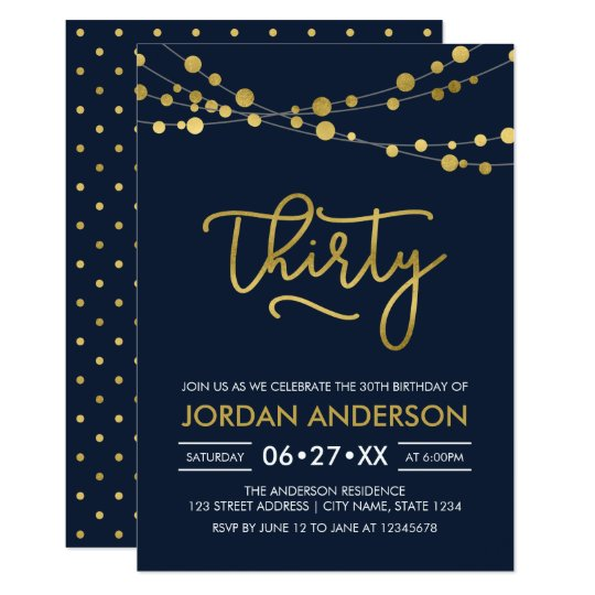 Elegant Modern Blue Faux Gold Lights 30th Birthday