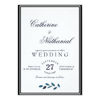 Elegant Modern Blue Watercolor Wedding Invitation