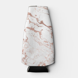 Elegant modern chic faux rose gold white marble bottle cooler