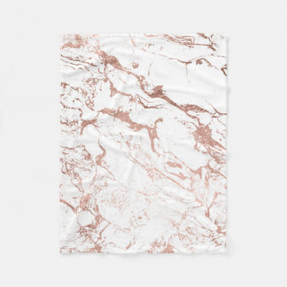 Elegant modern chic faux rose gold white marble fleece blanket