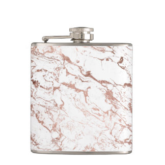 Elegant modern chic faux rose gold white marble hip flask