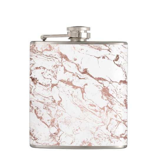 Elegant modern chic faux rose gold white marble