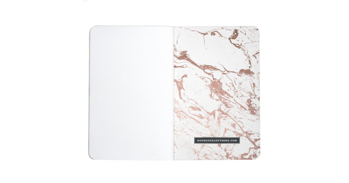Elegant modern chic faux rose gold white marble journal zazzle - Faux journal personnalise ...