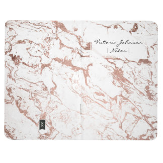 Elegant modern chic faux rose gold white marble journal