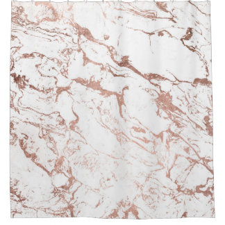 Elegant modern chic faux rose gold white marble shower curtain