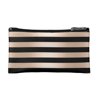 Elegant modern chick rose gold black striped cosmetic bag