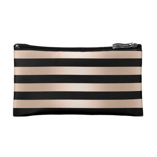 Elegant modern chick rose gold black striped cosmetic