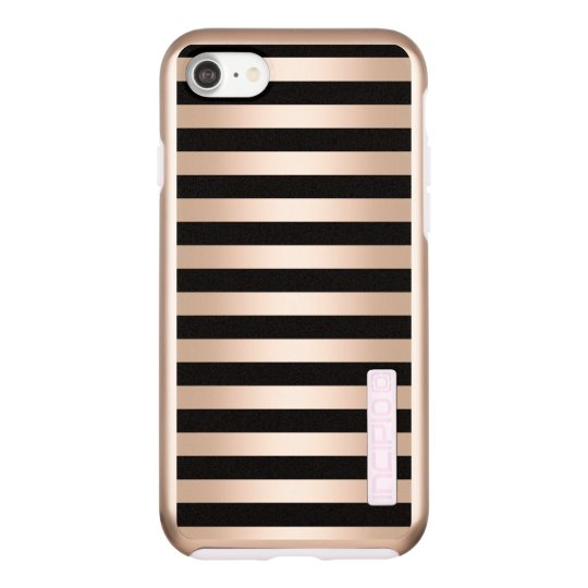 Elegant modern chick rose gold black striped incipio