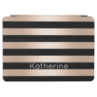 Elegant modern chick rose gold black striped iPad air cover