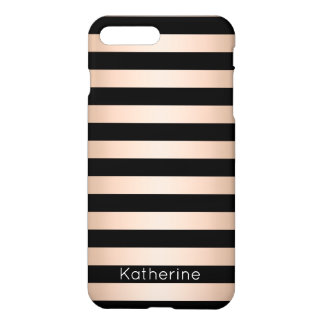 Elegant modern chick rose gold black striped iPhone 8 plus/7 plus case