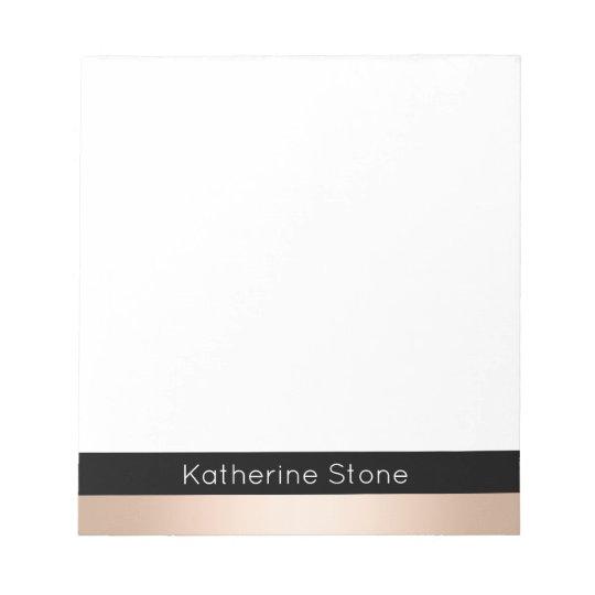 Elegant modern chick rose gold black striped notepad