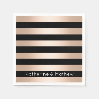 Elegant modern chick rose gold black striped paper napkin