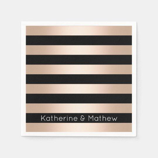 Elegant modern chick rose gold black striped paper