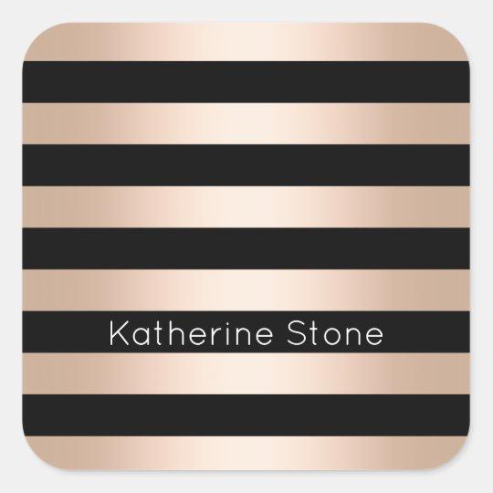 Elegant modern chick rose gold black striped square sticker