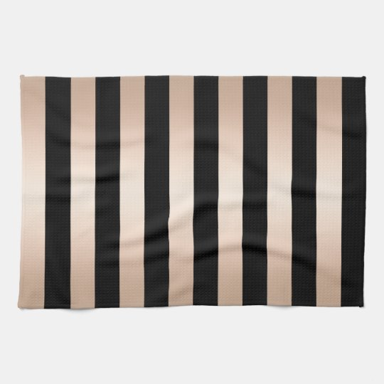 Elegant modern chick rose gold black striped tea
