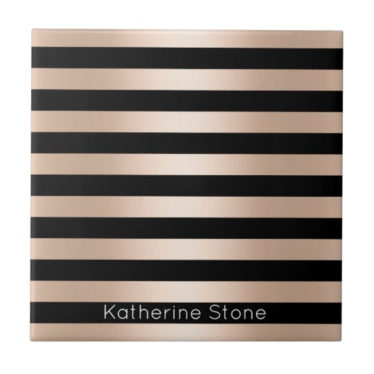 Elegant modern chick rose gold black striped tile