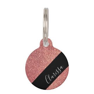 Elegant modern chick rose gold glitter black pet name tag