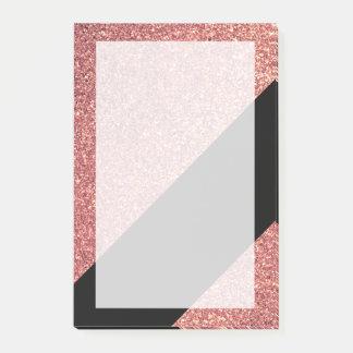 Elegant modern chick rose gold glitter black post-it notes