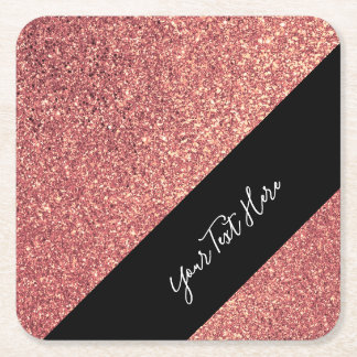 Elegant modern chick rose gold glitter black square paper coaster