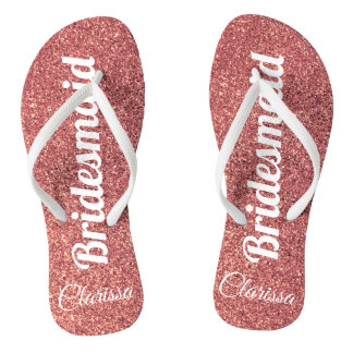 elegant modern chick rose gold glitter bridesmaid flip flops