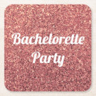 elegant modern chick rose gold glitter bridesmaid square paper coaster