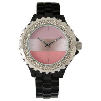 Elegant modern chick rose gold pink coral striped watch