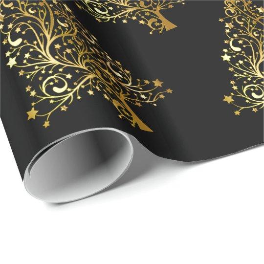 Elegant modern Christmas tree pattern black gold Wrapping