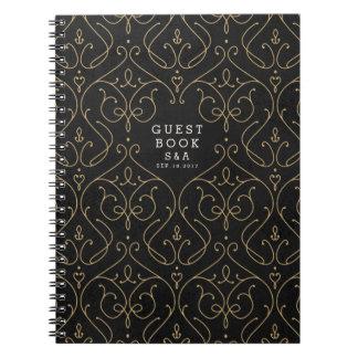 Elegant modern classic vintage wedding guest book note book