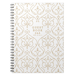 Elegant modern classic vintage wedding guest book notebook