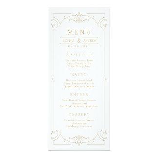 Elegant modern classic vintage wedding menu card
