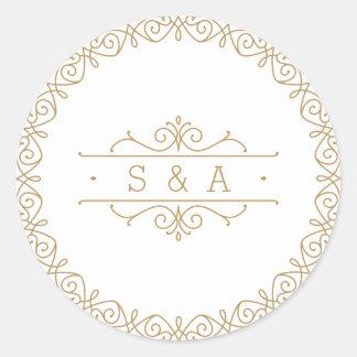 Elegant modern classic vintage wedding monogram classic round sticker