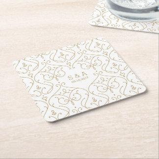 Elegant modern classic vintage wedding monogram square paper coaster