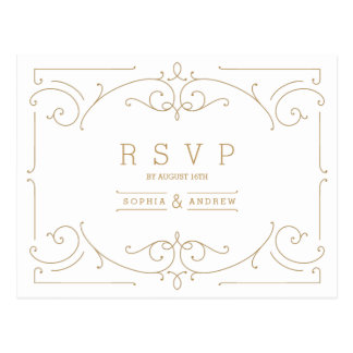 Elegant modern classic vintage wedding RSVP Postcard