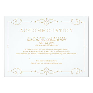 Elegant modern classic wedding accommodation card