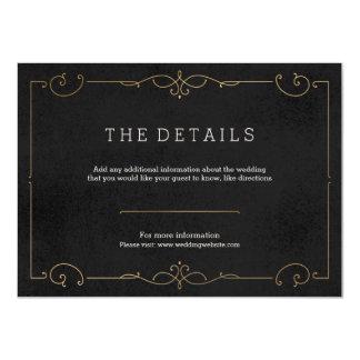 Elegant modern classic wedding detail card 11 cm x 16 cm invitation card